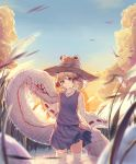 1girl animal bird blue_eyes blue_sky brown_headwear closed_mouth clouds expressionless giant_snake hair_ribbon hand_up highres long_sleeves looking_at_viewer medium_hair miniskirt mishaguji moriya_suwako orange_sky outdoors oversized_animal purple_skirt purple_vest qqqq542 red_eyes ribbon ribbon-trimmed_sleeves ribbon_trim sidelocks skirt skirt_set sky snake solo standing sun sunset thigh-highs touhou tress_ribbon vest wading_pool white_legwear white_snake wide_sleeves wind