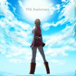 1girl anniversary backlighting bare_shoulders belt blue_sky boots brown_hair clouds cloudy_sky commentary crop_top d.g from_behind from_below full_body lens_flare meiko midriff miniskirt red_footwear red_shirt red_skirt shirt short_hair skirt sky sleeveless sleeveless_shirt solo standing vocaloid