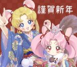 :d :t akakokko animal animal_ears animal_on_head arm_up bangs bishoujo_senshi_sailor_moon blonde_hair blue_eyes blue_kimono bow cat cat_on_head checkered checkered_background chibi_usa chinese_zodiac commentary diana_(sailor_moon) facial_mark floral_print hair_bow japanese_clothes kimono long_hair looking_at_viewer mouse_ears new_year on_head open_mouth parted_bangs pink_hair pink_kimono print_kimono red_background red_bow red_eyes short_hair smile translation_request tsukino_usagi twintails upper_body v year_of_the_rat yellow_bow