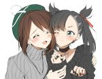 2girls :d ;t ^_^ absurdres bangs black_choker black_hair black_nails black_sweater blush brown_hair choker closed_eyes closed_mouth collarbone earrings eyebrows_visible_through_hair green_headwear grey_sweater hair_ribbon highres jewelry long_hair long_sleeves mary_(pokemon) multiple_girls nail_polish open_mouth pentagon_(railgun_ky1206) pokemon pokemon_(game) pokemon_swsh red_ribbon ribbed_sweater ribbon simple_background sketch sleeves_past_wrists smile stud_earrings sweater tam_o'_shanter turtleneck turtleneck_sweater twintails upper_body white_background yuri yuuri_(pokemon)