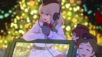 3girls bangs black_headwear blue_eyes blurry blurry_background brown_hair car christmas_lights christmas_tree closed_eyes commentary dated depth_of_field dress_shirt eyebrows_visible_through_hair flag garrison_cap girls_und_panzer gloves grey_gloves ground_vehicle hat headphones highres holding insignia itsumi_erika kuromorimine_military_uniform light_particles looking_to_the_side medium_hair military military_hat military_uniform motor_vehicle multiple_girls night open_mouth outdoors radio red_shirt riding shinmai_(kyata) shirt short_hair silver_hair smile twitter_username uniform very_short_hair wavy_hair white_coat wing_collar winter_uniform