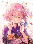 1girl bangs blush breasts commentary_request eyebrows_visible_through_hair fate_(series) floral_print flower fou_(fate/grand_order) hair_flower hair_ornament hair_over_one_eye highres japanese_clothes kimono large_breasts looking_at_viewer mash_kyrielight one_eye_closed open_mouth pink_flower purple_hair purple_kimono short_hair smile solo violet_eyes wasa_(pixiv29582664)