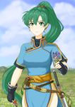1girl blue_dress clouds cute dress earrings fingerless_gloves fire_emblem fire_emblem:_rekka_no_ken fire_emblem:_the_blazing_blade fire_emblem_7 fire_emblem_blazing_sword flower gloves grass green_eyes green_hair hill holding holding_flower intelligent_systems jewelry katana long_hair looking_at_viewer lyn_(fire_emblem) miven nintendo pelvic_curtain ponytail rope_belt sash smile spring_(season) sword very_long_hair weapon