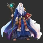 1boy absurdres athos_(fire_emblem) black_background book braid cape circlet cloudxmoe fire_emblem fire_emblem_heroes highres holding holding_book long_beard long_hair long_sleeves old_man sandals simple_background solo staff tunic white_hair wide_sleeves
