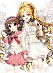2girls absurdres bangs blonde_hair blunt_bangs blush bow brown_eyes brown_hair buttons choker collar copyright_request curly_hair drill_hair feathered_wings feathers fur_trim ha_youn hair_ornament hair_scrunchie high_ponytail highres holding holding_hand holding_microphone juliet_sleeves long_hair long_sleeves looking_at_viewer microphone midriff multiple_girls music navel open_mouth parted_bangs pink_bow pink_skirt pleated_skirt puffy_sleeves sailor_collar school_uniform scrunchie simple_background singing skirt standing twintails white_background white_feathers white_skirt white_wings wings yellow_eyes