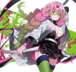 1girl arm_up bangs belt black_jacket black_skirt blush breasts buttons eyebrows_visible_through_hair gradient_hair green_background green_eyes green_hair green_legwear hair_between_eyes haori hayama_eishi highres holding holding_sheath holding_sword holding_weapon jacket japanese_clothes kanroji_mitsuri kimetsu_no_yaiba large_breasts long_hair long_sleeves looking_at_viewer military military_uniform mole mole_under_eye multicolored multicolored_background multicolored_hair no_bra open_clothes open_jacket open_shirt pink_background pink_eyes pleated_skirt ribbed_legwear sheath shiny shiny_hair shirt skirt solo standing sword thick_thighs thigh-highs thighs tri_braids uniform weapon whip_sword white_background white_belt white_shirt