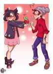 1boy 1girl ? absurdres applin beanie black_footwear black_hair black_jacket brown_footwear brown_hair confused denim dress embarrassed giving gradient gradient_background hat heart highres jacket jeans mary_(pokemon) masaru_(pokemon) pants pink_dress pointy_shoes pokemon pokemon_(game) pokemon_swsh red_background red_ribbon red_shirt ribbon scruffyturtles shaved_head shirt shoes short_hair shy signature sleeves_rolled_up sparkle_background torn_clothes torn_jeans torn_pants twintails
