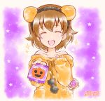 1girl animal_ears artist_name bare_shoulders brown_hair burafu candy closed_eyes commentary_request dated facing_viewer fake_animal_ears food freckles girls_und_panzer halloween halloween_costume holding holding_food jack-o'-lantern lion_ears lollipop long_sleeves notice_lines off-shoulder_sweater off_shoulder open_mouth orange_sweater short_hair smile solo staryu sweater tsuchiya_(girls_und_panzer) upper_body