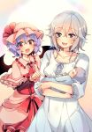 1other 2girls :d alternate_costume ambiguous_gender ascot baby bangs bat_wings blue_eyes blue_hair blush braid breasts capelet closed_eyes collarbone commentary_request cowboy_shot dress eyebrows_visible_through_hair fang frilled_capelet frilled_shirt_collar frills hair_between_eyes happy_tears hat hat_ribbon holding holding_baby izayoi_sakuya kirero long_sleeves looking_at_viewer medium_breasts mob_cap multiple_girls nightgown open_mouth pink_capelet pink_dress pink_headwear pointing red_eyes red_neckwear red_ribbon remilia_scarlet ribbon short_hair silver_hair smile standing tears touhou twin_braids white_dress wings