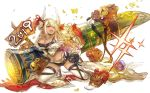 1girl 2019 blonde_hair boar breasts brown_eyes dark_skin draph gourd granblue_fantasy haku_(sabosoda) horns kneeling kuvira_(granblue_fantasy) large_breasts long_hair midriff navel one_eye_closed pointy_ears thigh-highs