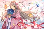 1girl ame_sagari animal bangs blurry blurry_background blush brown_eyes brown_hair bug butterfly cherry_blossoms closed_mouth commentary_request depth_of_field eyebrows_visible_through_hair fan floral_print flower holding holding_fan insect japanese_clothes kimono long_hair long_sleeves original paper_fan pink_flower pink_kimono print_kimono red_ribbon ribbon smile solo sparkle tree uchiwa very_long_hair white_flower wide_sleeves