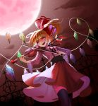 1girl alternate_costume black_legwear blonde_hair breasts clouds corset crystal dutch_angle flandre_scarlet full_moon hair_ribbon highres instrument long_hair long_sleeves looking_afar medium_breasts moon music night night_sky open_mouth playing_instrument recare red_eyes red_skirt ribbon side_ponytail skirt sky smile solo standing star_(sky) starry_sky thigh-highs touhou violin wide_sleeves wings