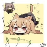 2girls :3 animal_ears blush_stickers brown_eyes brown_hair cat_ears cat_tail cattail chibi dokumi eyebrows_visible_through_hair girls_frontline hair_ornament hairclip imminent_pounce long_hair long_sleeves multiple_girls plant pleated_skirt scarf side_ponytail signature sitting skirt sleeves_past_wrists tail twintails ump45_(girls_frontline) ump9_(girls_frontline)
