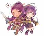2girls arrow bernadetta_von_varley bow_(weapon) chibi dark_skin dress earrings fire_emblem fire_emblem:_three_houses gloves grey_eyes heart holding holding_bow_(weapon) holding_sword holding_weapon jewelry kvlen long_hair long_sleeves multiple_girls musical_note open_mouth petra_macneary ponytail purple_hair quiver simple_background spoken_musical_note sword weapon white_background yellow_gloves