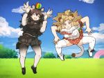 2girls animal_ears antlers ball bush clouds day fur_collar grass jumping kemono_friends laughing lion_(kemono_friends) long_hair moose_(kemono_friends) multiple_girls pantyhose parody plaid plaid_skirt pleated_skirt skirt sky tail tanaka_kusao thigh-highs third-party_source
