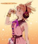 1girl bangs bare_arms bare_shoulders belt black_belt blonde_hair blouse bracelet breasts can closed_eyes drinking earmuffs eyebrows_visible_through_hair from_side gradient gradient_background hair_between_eyes hair_intakes hand_up holding holding_can jewelry makuwauri medium_breasts neck_ribbon orange_background pink_blouse pointy_hair profile purple_neckwear purple_ribbon ribbon short_hair sleeveless sleeveless_blouse solo touhou toyosatomimi_no_miko upper_body