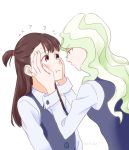2girls ? blonde_hair blue_eyes blush brown_hair couple diana_cavendish eye_contact hand_on_another's_cheek hand_on_another's_face kagari_atsuko little_witch_academia long_hair looking_at_another mitsuko_(4afe6300) multicolored_hair multiple_girls open_mouth red_eyes school_uniform simple_background two-tone_hair uniform wavy_hair white_background yuri