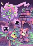 arch bag brick_wall fog frown gastly grass grave graveyard kotora_(pokemon) moon neckerchief paleona plant pokemon satchel spiritomb star_(sky) teddiursa tongue tongue_out turtwig vines