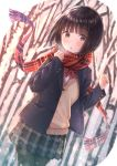 1girl :o bangs black_hair blazer blurry blurry_background blush bob_cut cardigan eyebrows_visible_through_hair grey_eyes highres jacket miniskirt original pantyhose scarf school_uniform skirt snow solo tanbonota46 tree