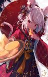 1girl 2020 animal_ears bangs blush bow bowl cheese cheese_wheel chinese_zodiac eating food furisode giving grey_hair hair_bow hair_ornament hakama highres holding holding_bowl holding_food japanese_clothes kimono long_sleeves looking_at_viewer mouse_ears mouse_tail original red_eyes roll_okashi short_hair solo swiss_cheese tail wide_sleeves year_of_the_rat
