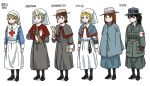 6+girls acronym anyan_(jooho) armband black_footwear black_gloves black_hair blonde_hair blue_eyes braid braided_bun brown_eyes brown_hair buttons capelet cloak commentary_request comparison envelope freckles full_body gloves green_eyes hat highres holding jacket korean_commentary long_hair long_skirt long_sleeves medal multiple_girls original pantyhose parka ponytail red_cross redhead scissors shoes short_hair simple_background skirt sleeve_cuffs standing watch watch white_background