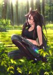 1girl absurdres animal_ears arknights boots breasts brown_hair collarbone commentary_request elbow_gloves forest full_body gloves grass green_eyes hand_up highres medium_breasts meteor_(arknights) midriff nature one_eye_closed open_mouth outdoors pants ponytail shijie_jianfa sitting solo sunlight tank_top thigh-highs thigh_boots torn_clothes torn_pants tree