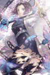 1girl black_hair black_jacket black_legwear black_skirt bug butterfly butterfly_hair_ornament closed_mouth gradient_hair hair_ornament haori highres holding holding_sword holding_weapon insect jacket japanese_clothes katana kimetsu_no_yaiba kochou_shinobu long_sleeves looking_at_viewer multicolored_hair nasu_(luliice) pleated_skirt purple_hair short_hair skirt solo standing sword torn_clothes torn_legwear torn_skirt violet_eyes weapon