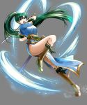 1girl arm_up asymmetrical_bangs attack bangs blue_dress boots breasts brown_footwear commentary_request delsaber dress eyelashes fingerless_gloves fire_emblem fire_emblem:_the_blazing_blade gloves glowing gold_trim green_eyes green_hair grey_background hair_between_eyes hair_ornament high_ponytail highleg highres holding holding_sword holding_weapon jewelry katana knee_boots leaning_back leg_up long_hair looking_at_viewer lyn_(fire_emblem) medium_breasts motion_lines open_mouth sash sheath shiny shiny_hair short_sleeves simple_background solo sparkle sword thighs undershirt weapon