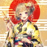 1girl :d ahoge arrow bangs bell blue_bow blush bow commentary_request double_bun earrings floral_print flower flower_earrings grey_hair hair_bow hair_flower hair_ornament hair_stick hamaya happy_new_year japanese_clothes jewelry jingle_bell kanzashi kimono long_sleeves looking_at_viewer nail_polish new_year obi open_mouth original red_bow red_nails red_sun sash shinotarou_(nagunaguex) smile solo upper_body violet_eyes white_flower wide_sleeves yellow_bow yellow_kimono