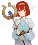 1girl bangs blush brown_hairband closed_mouth dress eyebrows_visible_through_hair fire_emblem fire_emblem:_mystery_of_the_emblem fire_emblem:_shadow_dragon hairband highres holding holding_staff jewelry juliet_sleeves kyufe long_sleeves looking_at_viewer maria_(fire_emblem) necklace pendant puffy_sleeves red_eyes redhead short_hair simple_background smile solo sparkle sphere staff upper_body white_background white_dress