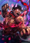 1boy asura's_wrath aura black_hair dark_persona dark_skin dougi evil_ryuu fangs fighting_stance glowing glowing_eyes glowing_horns hankuri male_focus muscle oni_horns open_mouth ryuu_(street_fighter) shirtless short_hair solo street_fighter street_fighter_iv_(series) thick_eyebrows