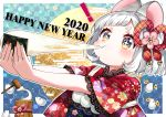 ! +_+ 1girl 2020 absurdres animal animal_ears bangs bell blue_eyes blush brown_eyes checkered checkered_background chinese_zodiac closed_mouth commentary_request diagonal_bangs eating fingernails floral_print food green_nails happy_new_year highres holding holding_food japanese_clothes jingle_bell kimono kine kurihara_sakura mochi mochi_trail mortar mouse mouse_ears multicolored multicolored_eyes multicolored_nails new_year obi original outstretched_arms print_kimono red_kimono red_nails sash short_hair short_sleeves silver_hair solo thick_eyebrows upper_body year_of_the_rat yellow_nails