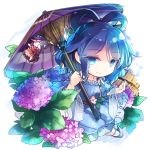 1girl bangs black_legwear black_skirt blue_dress blue_eyes blue_hair blue_headwear cabbie_hat chibi doll dress drill_hair flower hair_ornament hair_rings hair_stick hat holding holding_umbrella hydrangea kaku_seiga kutsuki_kai looking_at_viewer miyako_yoshika ofuda oriental_umbrella petals pink_flower puffy_short_sleeves puffy_sleeves red_shirt shawl shirt short_hair short_sleeves skirt smile socks touhou twin_drills umbrella vest white_background