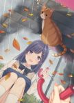 1girl autumn_leaves bangs blush cat clouds cloudy_sky feet_out_of_frame holding holding_umbrella leaf long_hair looking_at_another nagisa3710 open_mouth original outdoors pov puddle purple_hair rain reflection reflective_water school_uniform sitting sky smile solo squatting tree umbrella violet_eyes water