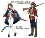 alternate_costume american_flag anyan_(jooho) belt belt_buckle boots brown_eyes brown_hair buckle cartridge character_name commentary_request english_text full_body girls_frontline gloves helmet highres historical_american_flag holding holding_weapon jacket korean_commentary lee-enfield_(girls_frontline) long_hair long_pants long_sleeves looking_at_viewer medal multiple_views pants pith_helmet shoes sidelocks simple_background sleeve_cuffs standing sweat weapon white_background white_gloves