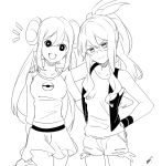 2girls black_vest bow breasts check_commentary closed_mouth commentary_request curly_hair cutoffs denim denim_shorts double_bun greyscale high_ponytail long_hair looking_at_viewer mei_(pokemon) monochrome motu0505 multiple_girls no_hat no_headwear pink_bow pokemon pokemon_(game) pokemon_bw pokemon_bw2 raglan_sleeves shirt shoes short_shorts shorts sidelocks simple_background sleeveless sleeveless_shirt smile touko_(pokemon) twintails very_long_hair vest white_background white_shirt