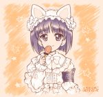 1girl :q animal_ears armband artist_name bangs black_eyes black_hair blunt_bangs blunt_ends bob_cut burafu candy cat_ears closed_mouth commentary cropped_torso dated dress eyebrows_visible_through_hair fake_animal_ears food frilled_dress frills girls_und_panzer gotou_moyoko hairband halloween halloween_costume holding holding_food licking_lips lolita_fashion lolita_hairband lollipop long_sleeves looking_at_viewer orange_background short_hair smile solo star star_print tongue tongue_out upper_body white_dress white_hairband