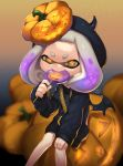 +_+ 1girl absurdres artist_name bangs bat_wings beret black_dress black_headwear black_wings blunt_bangs blurry blurry_background candy commentary crown depth_of_field domino_mask dress english_commentary food food_in_mouth gradient_hair hair_ornament halloween halloween_costume hat highres hime_(splatoon) holding holding_food jack-o'-lantern jack-o'-lantern_hair_ornament jewelry lollipop long_sleeves looking_at_viewer mask medium_dress medium_hair mole mole_under_mouth multicolored_hair necklace night orange_eyes orange_sky pendant puchiman purple_hair signature sitting sky solo splatoon_(series) star_(sky) starry_sky sweater sweater_dress tentacle_hair white_hair wings