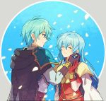 1boy 1girl 2900cm aqua_hair artist_name blue_eyes breastplate brother_and_sister cape closed_eyes closed_mouth earrings eirika_(fire_emblem) ephraim_(fire_emblem) fire_emblem fire_emblem:_the_sacred_stones from_side gloves jewelry long_hair long_sleeves petals red_gloves short_hair siblings upper_body