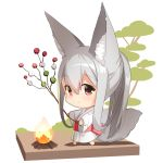 1girl animal_ear_fluff animal_ears bangs barefoot branch campfire chibi closed_mouth commentary_request dango eyebrows_visible_through_hair fire food fox_ears fox_girl fox_tail grey_hair hair_between_eyes holding holding_branch japanese_clothes kimono long_hair long_sleeves original patches ponytail red_eyes sanshoku_dango smile solo standing tail very_long_hair wagashi white_kimono wide_sleeves yuuji_(yukimimi)