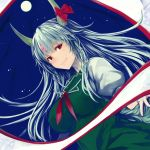 1girl absurdres bangs bow breasts brooch commentary_request dress dutch_angle ex-keine full_moon green_dress green_hair highres horn_bow horns jewelry kamishirasawa_keine large_breasts long_hair looking_at_viewer moon neckerchief night night_sky outdoors pinafore_dress puffy_short_sleeves puffy_sleeves red_bow red_eyes red_neckwear scroll shirt short_sleeves sky smile solidstatesurvivor solo star_(sky) starry_sky touhou upper_body white_shirt