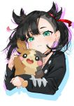 1girl :d artist_name bangs black_choker black_hair black_jacket blush choker commentary cropped_torso earrings gotoh510 green_eyes hair_ribbon head_tilt highres jacket jewelry long_sleeves looking_at_viewer mary_(pokemon) morpeko open_mouth pointy_hair pokemon pokemon_(creature) pokemon_(game) pokemon_swsh red_ribbon ribbon short_hair signature silhouette simple_background smile stud_earrings twintails upper_body white_background