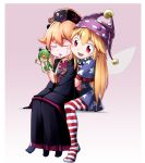 2girls american_flag_dress american_flag_legwear black_dress black_headwear blonde_hair child closed_eyes clownpiece dress fairy_wings full_body hand_puppet hat highres jester_cap junko_(touhou) kikoka_(mizuumi) long_hair multiple_girls neck_ruff no_shoes pantyhose polka_dot puppet purple_headwear red_eyes short_dress short_sleeves sitting sitting_on_lap sitting_on_person sleeves_past_wrists smile star star_print striped sweatdrop tabard touhou two-tone_background wings younger