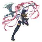 1girl axe belt boots closed_mouth fire_emblem fire_emblem:_three_houses full_body garreg_mach_monastery_uniform highres hilda_valentine_goneril holding holding_axe knee_boots kyarairo long_hair pink_eyes pink_hair simple_background smile solo thigh-highs twintails uniform white_background
