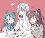 ... 3girls :| ^_^ akni animal_ears arm_hug bang_dream! bangs blue_collar blue_shirt brown_hair cat_ears closed_eyes closed_mouth collar collared_shirt dog_collar dog_ears earrings green_eyes green_hair grey_hair grey_sweater half_updo hikawa_sayo holding holding_pen imai_lisa jewelry kemonomimi_mode leash long_hair long_sleeves minato_yukina mouth_hold multiple_girls off-shoulder_sweater off_shoulder paper pen red_background shirt simple_background smile spoken_ellipsis sweater upper_body white_shirt writing yellow_eyes