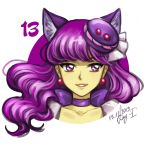 1girl 2019 animal_ears bangs cat_ears character_request choker collarbone dated earrings elena_ivlyushkina eyebrows_visible_through_hair floating_hair grin hair_ornament jewelry long_hair looking_at_viewer number portrait purple_hair shiny shiny_hair signature simple_background smile solo violet_eyes white_background