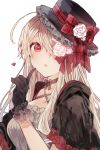 1girl :o ahoge bangs black_capelet black_choker black_gloves black_headwear blonde_hair bow breasts capelet choker commentary_request criss-cross_halter dress flower gloves hair_bow hair_flower hair_ornament hair_over_one_eye halterneck hand_up hat hat_bow hat_flower heart highres hood hood_down hooded_capelet ikeuchi_tanuma index_finger_raised long_hair looking_at_viewer medium_breasts original parted_lips plaid plaid_bow red_bow red_eyes rose simple_background solo tilted_headwear upper_body white_background white_dress white_flower white_rose