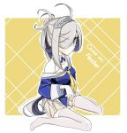 1girl ahoge asashimo_(kantai_collection) blue_shirt breasts commentary_request cosplay english_text fletcher_(kantai_collection) fletcher_(kantai_collection)_(cosplay) full_body grey_eyes hair_over_one_eye kantai_collection long_hair looking_at_viewer neckerchief off_shoulder pleated_skirt ponytail sailor_collar school_uniform serafuku shirt silver_hair sitting skirt small_breasts solo thigh-highs torikai_a two-tone_background wariza white_legwear white_sailor_collar white_skirt yellow_background yellow_neckwear