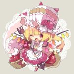 1girl alternate_costume alternate_headwear apron ascot bangs blonde_hair blush buttons chibi collar cotton_candy cupcake doily dress fang flandre_scarlet food food_themed_hair_ornament fork fruit full_body grey_background hair_ornament hat heart heart_in_eye highres holding holding_fork holding_weapon ice_cream lace_background laevatein leg_up looking_at_viewer muffin nikorashi-ka one_eye_closed one_side_up open_collar open_mouth outstretched_leg puffy_short_sleeves puffy_sleeves red_dress red_eyes red_footwear shirt short_hair_with_long_locks short_sleeves simple_background skin_fang solo standing standing_on_one_leg strawberry strawberry_hair_ornament symbol_in_eye top_hat touhou waist_apron weapon white_headwear white_shirt wings wrist_cuffs yellow_neckwear