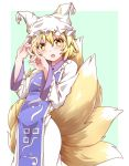 1girl absurdres blonde_hair blush commentary_request eyebrows_visible_through_hair fox_tail green_background hat highres hiro_(pqtks113) long_sleeves looking_at_viewer multiple_tails open_mouth short_hair solo tabard tail touhou white_background white_headwear yakumo_ran yellow_eyes
